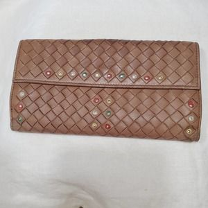 Bottega Veneta Brown Intrecciato Leather Wallet